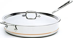 All-Clad 6406 SS Copper Core 5-Ply Bonded Dishwasher Safe Saute Pan with Lid / Cookware, 6-Quart, Silver - 8700800302