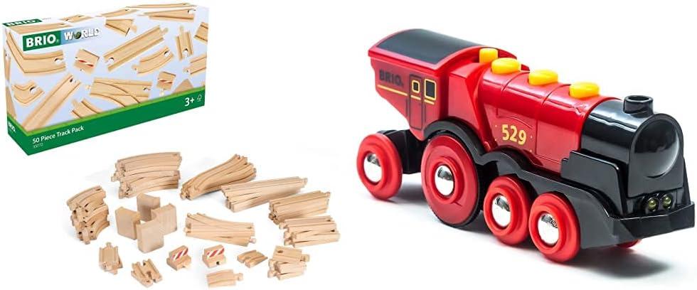BRIO 33772, Surtido Ferrocarril Large XXL, 50 Vías y Desvíos + 33592 Gran Locomotora Roja a Pilas con Luz y Sonido, Trenes-Vagones-Vehículos, Edad Recomendada 3+