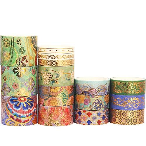 Yubbaex 豪華な刺繍模様 ワシテープ 金箔押し マスキングテープ 広い幅 共15巻 薄いです プレゼント包装、DIY工芸品、ノートの装飾に使える (素晴らしい章)