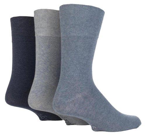 3paia di calze in tinta unita, taglia 40-45, con bordo che non stringe Denim 40 A 45 Uomo