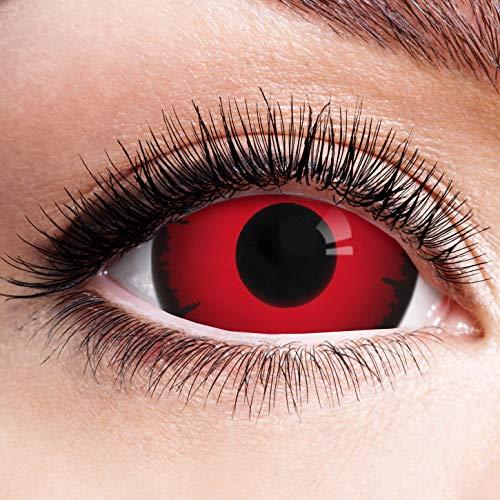Farbige Kontaktlinsen Schwarz Rot Ohne Stärke mit Motiv Linsen Halloween Karneval Fasching Cosplay Kostüm Black Red Eyes Schwarze Rote Augen Mini Sclera Volturi Vampir 17mm