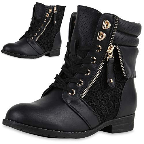 SCARPE VITA Damen Stiefeletten Boots Schnürstiefel Spitze Used Look Schuhe 160302 Schwarz Spitze 36