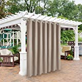 BONZER Waterproof Indoor/Outdoor Curtains for Patio - Thermal Insulated, Sun Blocking Grommet Blackout Curtains for Bedroom, Porch, Living Room, Pergola, Cabana, 1 Curtain Panel 100 x 84 inch, Khaki