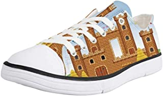 K0k2t0 Canvas Sneaker Low Top Shoes,Children,Many Animals on a Boat Ark in Fluffy Clouds with Rainbow Fantasy Cartoon