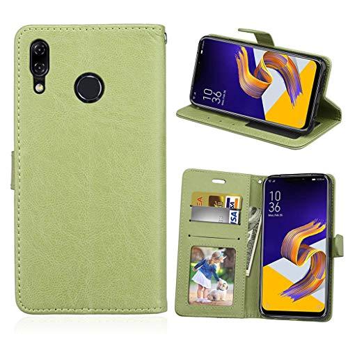 Asus Zenfone 5 2018 Hülle, SATURCASE Glatt PU Lederhülle Magnetverschluss Brieftasche Standfunktion Handy Tasche Schutzhülle Handyhülle Hülle für Asus Zenfone 5 ZE620KL/Zenfone 5z ZS620KL (Grün)
