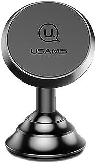 USAMS 車載ホルダー スマホスタンド マグネット式 エアコン 強力吸着 360度回転可 円滑処理 高級金属感溢れ 着脱簡単 (黒)