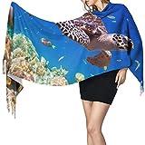 Cálido Bufandas de Invierno Bajío de tortugas marinas tropicales solitarias y viejas esponjas Maldivas Pashmina Chales mujer Bufandas