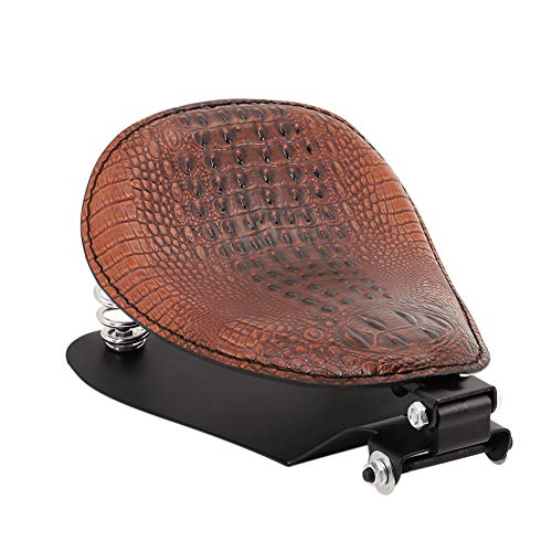 Motorcycle Alligator Brown Leather Driver Solo Seat with Base Plate Spring Mounting Brackets Kit for Harley Davidson Sportster XL 1200 883 48 Chopper Bobber Cruiser Custom
