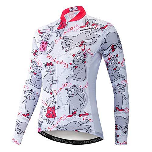 WSXEDC Maglia da Ciclismo per Donna,Autunno Mountain Bike Abbigliamento Manica Lunga Top novità Gatto Bianco Road Riding MTB Zipper Shirt con Tessuto Traspirante Traspirante, M
