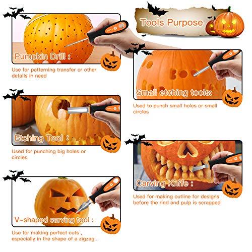 Moocii Kit Intaglio Zucca per Halloween Decorazione DIY Intaglio di Zucca 10 Pezzi Set da Intaglio Zucca Scultura in Acciaio Inossidabile Intaglio di Zucca di Halloween con Custodia