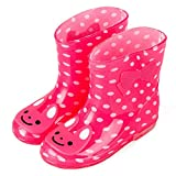 ADDYZ Primavera otoño lluvia botas niños animal patrón botines niños bebé niños PVC impermeable zapatos-28, RoseRed