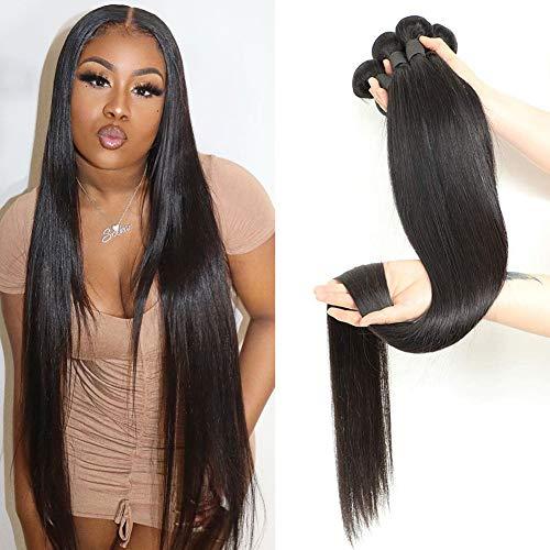 Human Hair Straight 4 Bundles Ayisha Hair 10A Brazilian Hair Bundles 20 22 24 26 inch Brazilian Straight Virgin Human Hair Bundles Deal Unprocessed Remy Human Hair Weaves Brazilian Hair Extensions