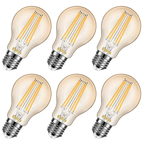 Eslas 8W E27 LED Filament Lampe, A60 2200K 880Lm Warmweiß Glühfaden Licht, A60 LED Edison Schraube Birne,Ersatz für 80W Glühlampe, Not Dimmable 6 Pack [Energy Class A++]