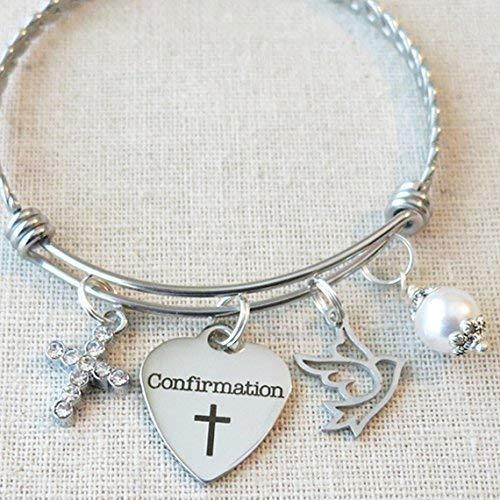 CONFIRMATION Gift, Girls Confirmation Charm Bracelet, Religious Cross Jewelry, Religious Dove Charm Bracelet