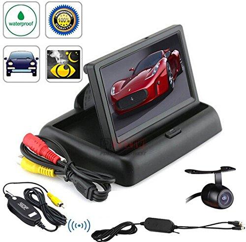 BW 10,92 cm faltbarer Farbe Auto Rear View Monitor + Auto Rückfahrkamera Funk Rückfahrsystem CCD wasserdicht