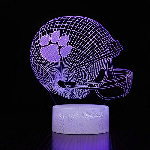 BigFootStudio 3D LED Night Light Football Helmet Clemson Tigers Flat Acrylic Illusion Lighting Lamp with 7 Colors and Touch Sensor, Sports Fan Nightlight Gift for Kids, Boys, Girls, Men or Women…