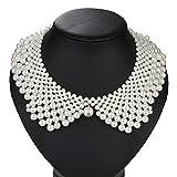 UFAVOR Media Camisa de Perlas para Mujer, Blusa de Gargantil