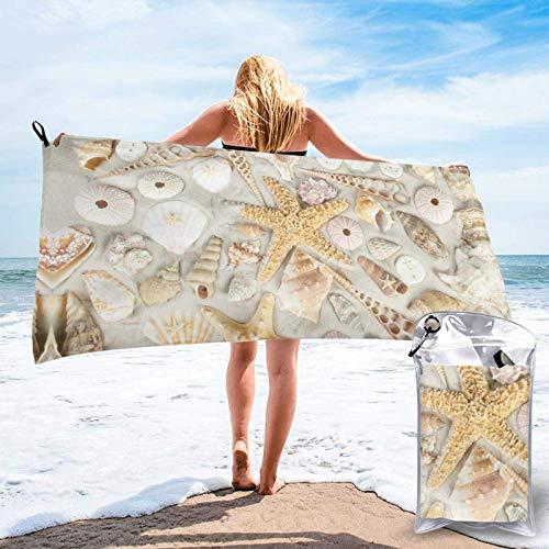 FLDONG Toalla de secado rápido con estampado de estrellas de mar en arena blanca, ultrasuave y compacta, ligera, adecuada para camping, gimnasio, playa, natación, yoga, hogar 81.5 x 163 cm