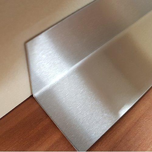 1x Innen Winkel Edelstahl V2A K240 geschliffen 20x20x2000mm 0,8 mm stark L-Profil Dekor Innen Winkelprofil einseitig mit Schutzfolie 200cm lang
