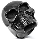 JewelryWe Schmuck Biker Herren-Ring, Edelstahl, Gotik Große Schwer Totenkopf Schädel, Schwarz - Größe 62