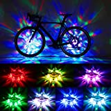 Hestya 2 Pieces Waterproof Bike Wheel Lights LED Bicycle Tire Lights Bike Wheel Hub Lights USB Rechargeable Bicycle Tire Spoke Decoration for Boys Girls Adults, 7 Colors 18 Modes