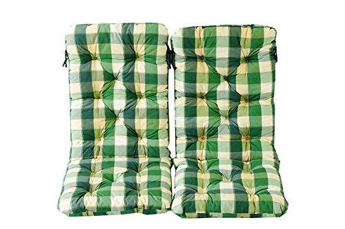 Ambientehome 2er Set Hochlehner Auflage Kissen Hanko Maxi, kariert grün, ca 120 x 50 x 8 cm, Rückenteil ca 70 cm, Polsterauflage