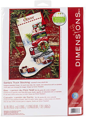 Dimensions 70-08986, 16' Long Santa's Truck Counted Cross Stitch Christmas Stocking, 14 Ivory Aida