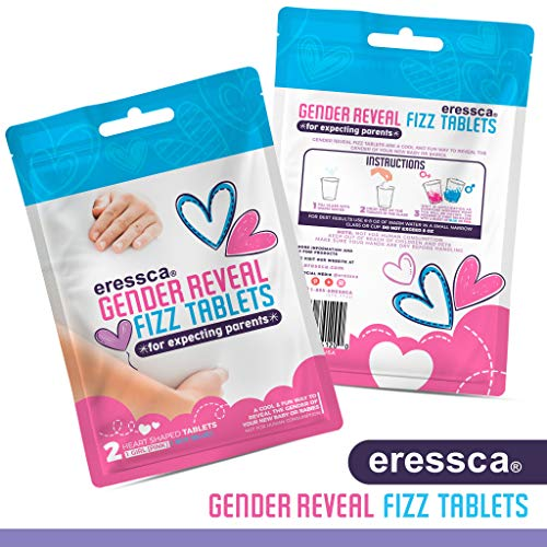 Gender Reveal Fizz Tablets (1 Pink/Girl) and (1 Blue/Boy) Heart Shaped