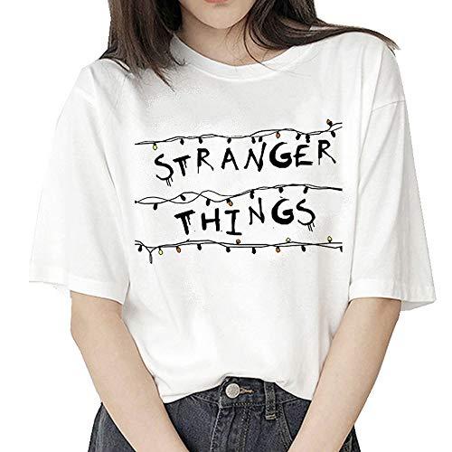 Stranger Things Maglietta per Donna, Stranger Things Maniche Corte Maglia con Stampa Lettera Estate Tee T-Shirt Camicia Tops Camicetta Blusa Maglietta da Ragazzo Ragazza (B35708,L)