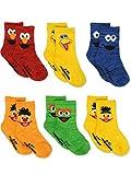 Sesame Street Elmo Boys Girls Multi Pack Crew Socks with Grippers (12-24 Months, Bert Ernie 6 pk)