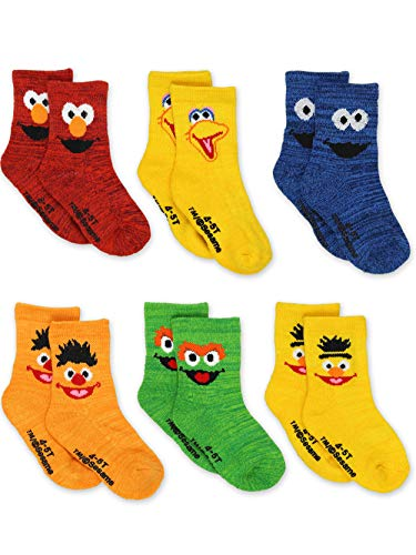 Sesame Street Elmo Boys Girls Multi Pack Crew Socks with Grippers (12-24 Months, Bert Ernie 6 pk)