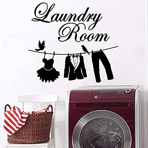 Wandaufkleber, Waschmaschine Waschküche Dekoration Wasserdichte Kunst Wandbild Anzug Hose Anzug Aufkleber Kleidung Rod Bird 49x55cm