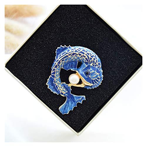 Jfsmgs Broche Nuevos Blue Fish Broches Pins para Las Mujeres Simuladas Lady Party Accessories Collar Pin Pin Femen