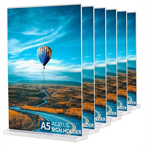 Porta Menu da Tavolo A5 (6 Pezzi) Espositore A5 Porta Avvisi da Tavolo, Espositore da tavolo A5 in Acrilico Plexiglass Porta Poster per Ristoranti, Hotel, Negozio, Ufficio