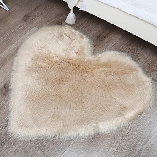 Alfombras Alfombras Sofá Mullido En Forma De Corazón Área De Piel Sintética Blanca Alfombra Para El Dormitorio Piso Sofá Sala De Estar Dormitorio Habitación De Los Niños Habitación,Camel-84*90