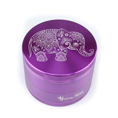 Elephant Herb Grinder – Custom Grinder 4 Piece Herb Grinder Elephant Purple Grinder (Purple)