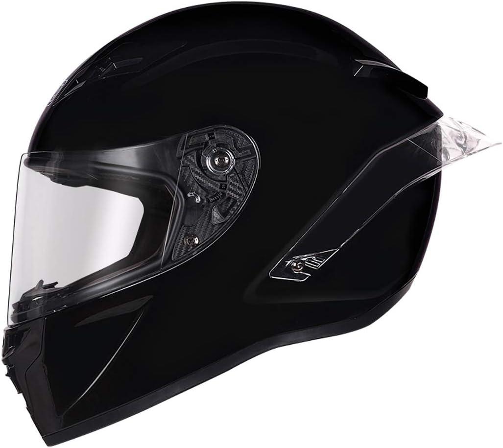 Clear Shield, S 55-56cm Mangen Full Face Motorbike Dual Sport Motorcycle Helmet Urban Scooter Helmets Gloss Black