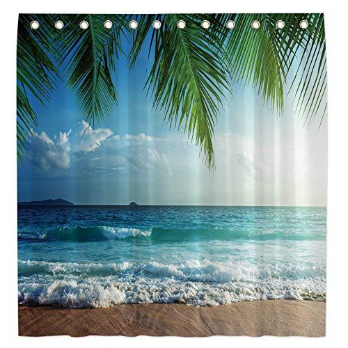 Allenjoy 72x72 Tropical Beach Shower Curtain for Bathroom Set Summer Palm Tree Home Bath Decor Island Seascape Decoration Customizable Durable Waterproof Fabric Machine Washable Curtain with 12 Hooks