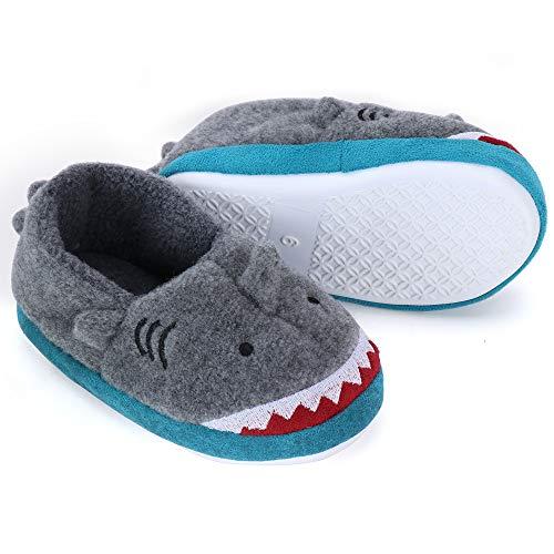 Dream Bridge Zapatillas de Felpa para Niñas Niños Zapatos de Peluche para Chicos Tiburón Gris