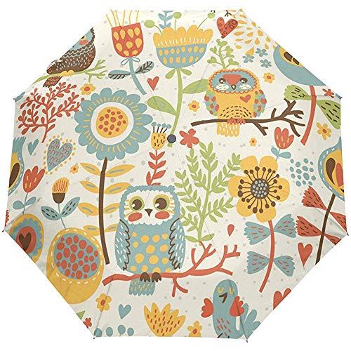 Cute Floral Flowers Owls Birds Animals Auto Open Close Sun Rain Umbrella