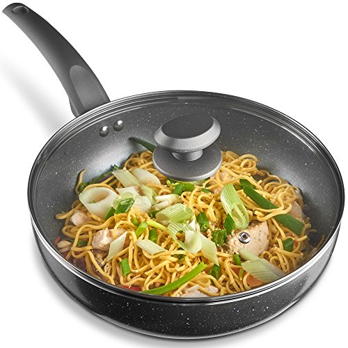 VonShef Wok - Large 28cm Marble Cast Aluminium Pan with Tempered Glass Lid...