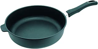 Gundel - Sartén para inducción (hierro fundido, honda, Ø 28 cm, altura de 7 cm, superficie de Biotan, superficie térmica, mango fijo)