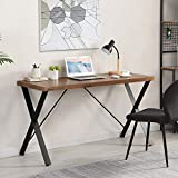 O&K FURNITURE 55' Industrial Computer Desk, Metal and Wood Study Writing Desk for Home Office, Simple Lap Desk for Laptop and Writing