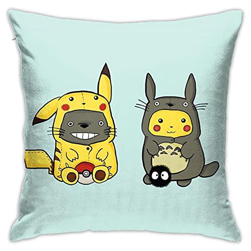 Dxddsdks Funda de cojín de dibujos animados Totoro Fundas de cojín Funda de almohada impresión 3D es suave y cómoda decoración sofá silla