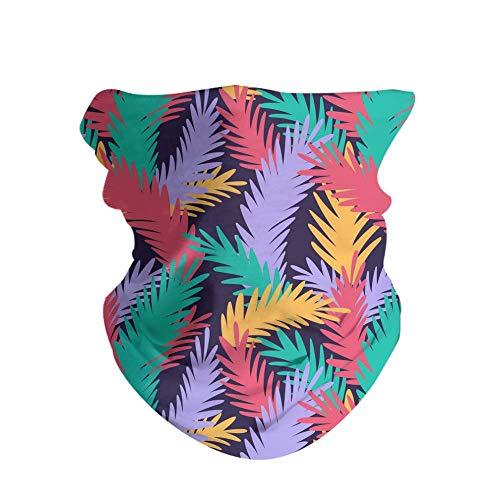 HAOZI 2 Pack 3D máscara de sol, polaina, gorro, pañuelo mágico, pañuelo bandana, pasamontañas, pesca con diadema, caza, trabajo en patio, correr, motociclismo, color Hojas tropicales coloridas., tamaño 50 CM x 25 CM