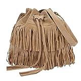 Bolso de hombro con flecos de piel de ante para mujer, estilo retro de gamuza sintética con flecos de flecos bolsa de mensajero para mujer