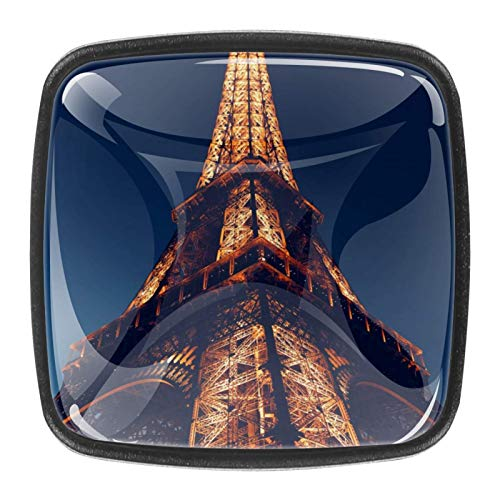 Paquete de 4 pomos de cocina para gabinetes, pomos de cristal para cajones de aparador, tiradores de gabinete para cocina, aparador, armario, baño, armario, torre Eiffel Paris