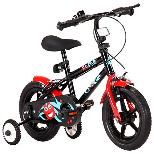 Autoshoppingcenter Bicicletta per Bambini Bambine 2-4 Anni con Ruote da 12 Pollici con Rotelle Laterali Pedali Freni Anteriori e Posteriori Luci Manubrio Sella Regolabile[EU Stock]
