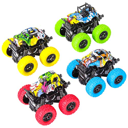 m zimoon Camión Monstruo, Inercia Vehiculo Todoterreno Juguete Autos de Carreras Autos de Carreras con Rotación de 360 Grados Regalo para Niños (4 Paquetes, Azul Verde Amarillo Rojo)