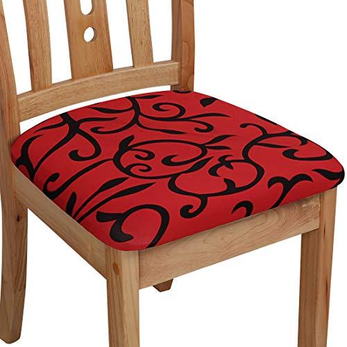 PiccoCasa - Funda para asiento de silla con lazos, poliéster, elástica, para sillas de comedor, cocina, juego de 6 unidades, color rojo y negro